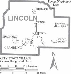 lincoln-parish-louisiana-cities-towns-choudrant-downsville-dubach-grambling-ruston-parish-seat-simsboro-vienna