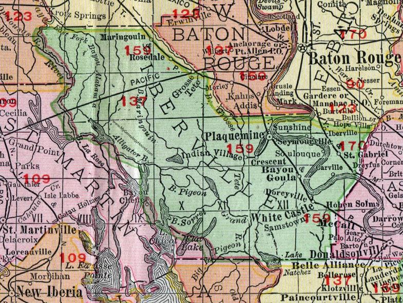 iberville-parish-louisiana-cities-towns-bayou-goula-carville-crescent-dorseyville-grosse-tete-maringouin-morrisonville-plaquemine-parish-seat-ramah-rosedale-st-gabriel-white-castle
